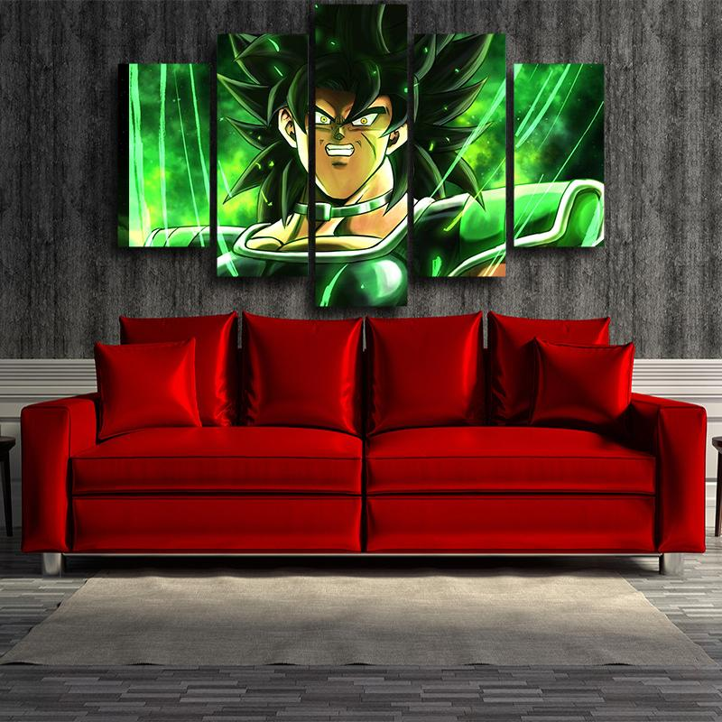 Dragon Ball Z The Legendary Broly Green 5pcs Canvas Print
