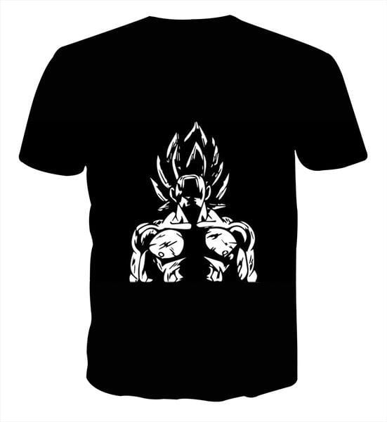 Dragon Ball Goku Shouting Out Loud Vector Art Black T-Shirt