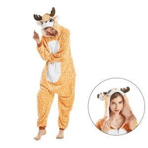 Awesome Deer Kigurumi With Antlers Hood Onesie Pajama