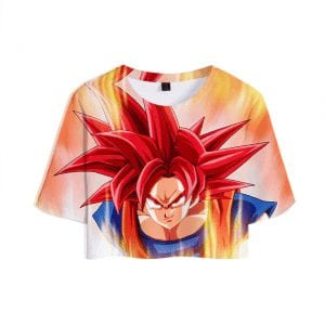 Dragon Ball Z Handsome Super Saiyan God Son Goku Stylish Crop Top