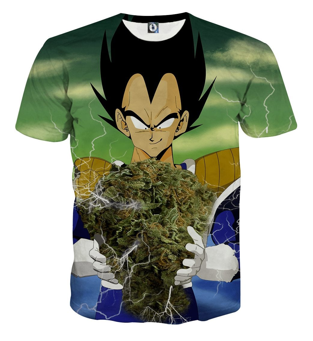 Vegeta Smokes Weed Large Marijuana Nug T-Shirt