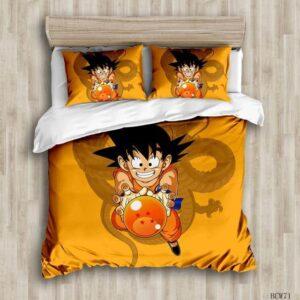 Kid Goku Holding 4 Star Dragon Ball Orange Bedding Set