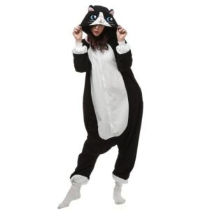 Charming Cat Face Hood Kigurumi Black Onesie Pajama