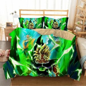 Berserk Broly With Son Goku And Vegeta Green Bedding Set
