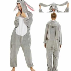 Long Ears Rabbit Onesie Design Gray Kigurumi Pajama