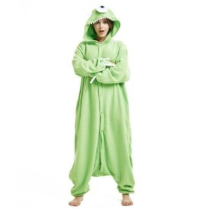 One-Eyed Green Monster Kigurumi Overall Onesie Pajama