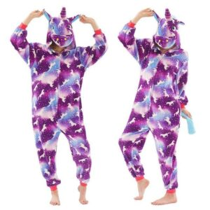 Small Unicorn White Prints Onesie Purple Kigurumi Pajama