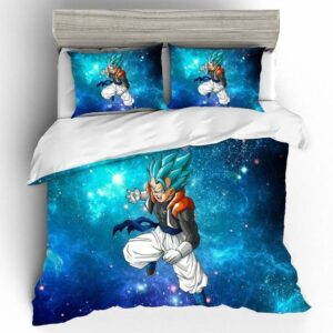 Furious Gogeta Blue Starry Galaxy Background Bedding Set