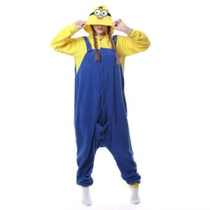 Minion Yellow Onesie Blue High Jumper Kigurumi Pajama