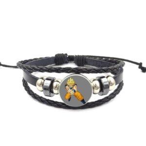SSJ Son Goku Kamehameha Pose Leather Braided Bracelet