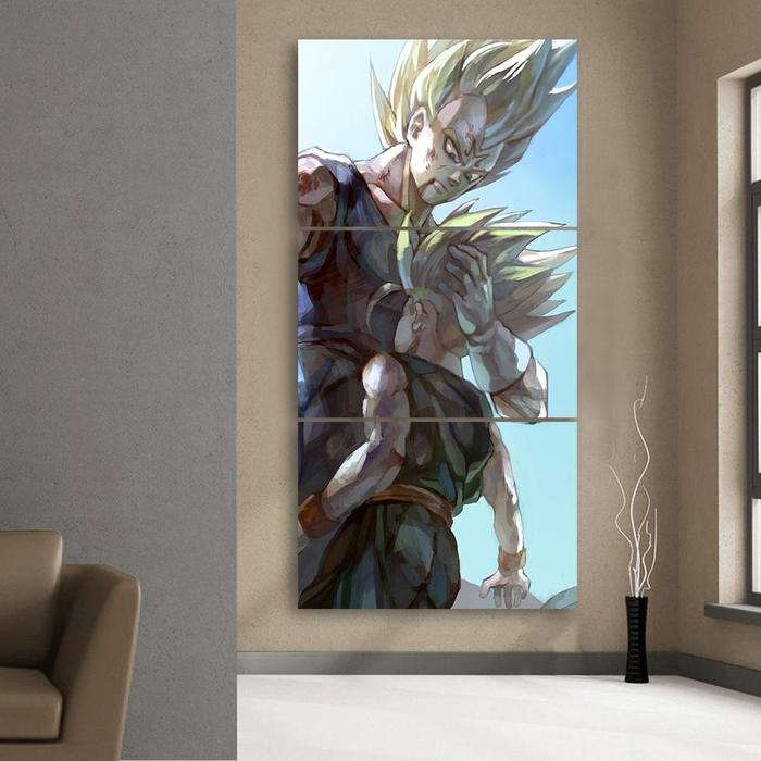 Father and Son Bloody Majin Vegeta Kid Trunks 3Pc Canvas Print