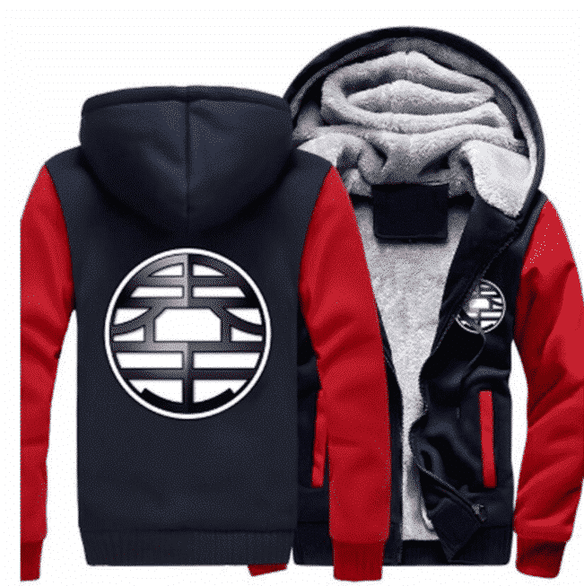 Dragon Ball King Kai Kanji Symbol Red Navy Zipper Hooded Jacket