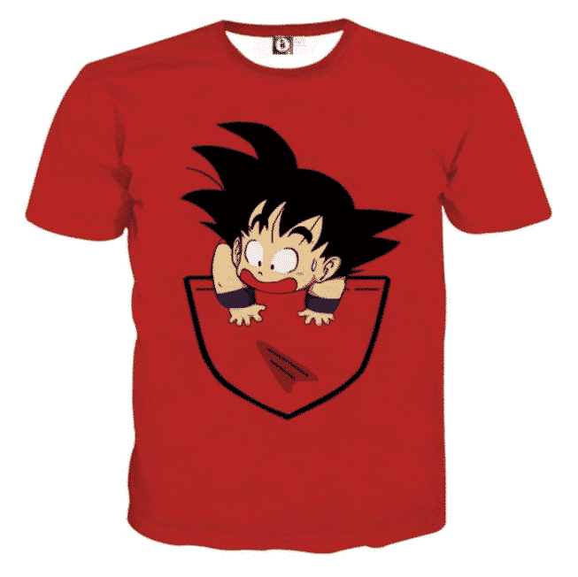 Dragon Ball Cute Goku Kid Pocket Simple Design Streetwear T-Shirt