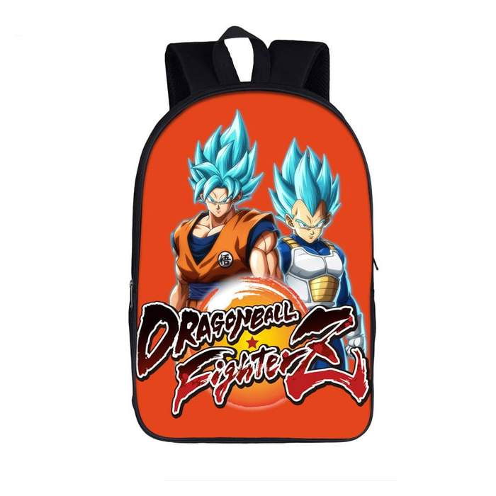 DBZ Blue-Haired Saiyan Dragon Fighterz Orange Backpack Bag