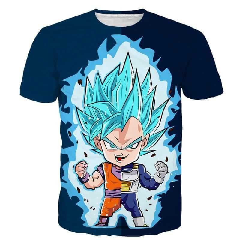 DBZ Goku Vegeta SSGSS God Blue Super Saiyan Chibi Sketch T-Shirt