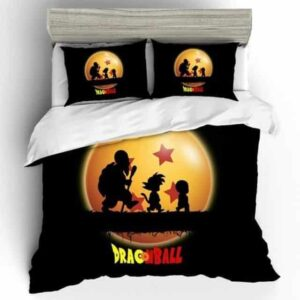 DBZ Master Roshi, Krilin, And Goku Silhouette Bedding Set