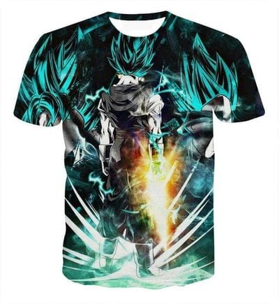 Dragon Ball Vegito Super Saiyan Power Up Potara Fusion Design T-Shirt