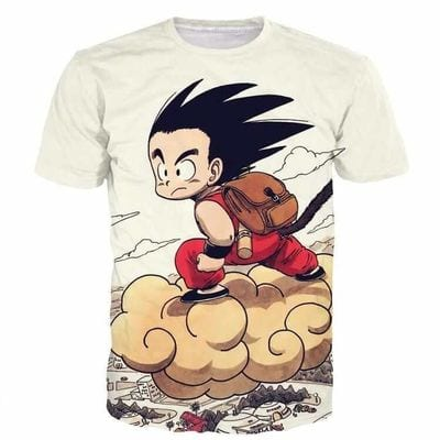 Flying Cute Kid Goku Cloud Nimbus Vintage Beige DBZ T- Shirt