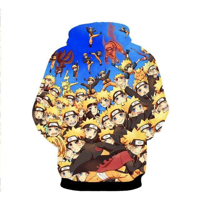 Multiple Shadow Clone Technique Kinjutsu Cute Naruto Blue 3D Hoodie