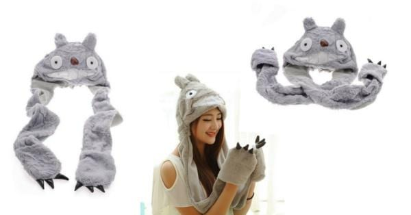 My Neighbor Totoro Plush Cute Winter Beanie Hat & Long Mittens Gloves