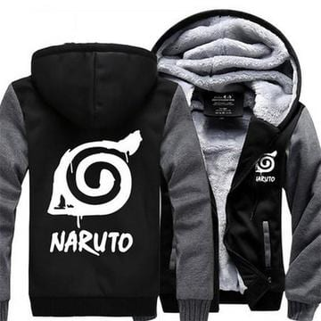 Naruto Cool Hidden Leaf Village Symbol Gray Black Hooded Jacket