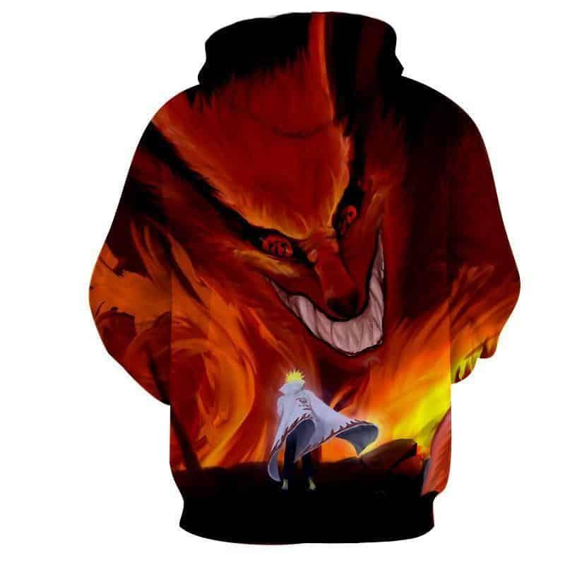 Naruto Kurama Fire Monster Fox Fan Art Dope Manga Hoodie