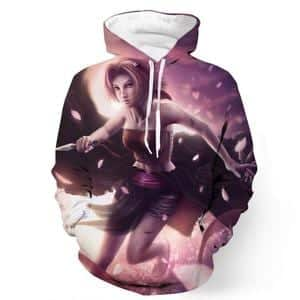 Naruto Sakura Fight Flower Kunai Weapon Realistic Art Style Hoodie