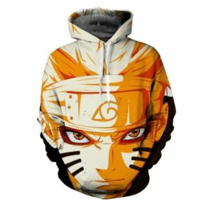 Naruto Uzumaki Face Red Eyes Sharingan 3D Cool Anime Hoodie