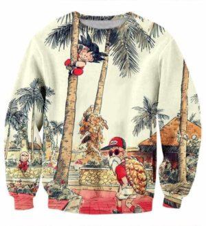 Palm Tree Cute Kid Goku Master Roshi Vintage Beige Sweater