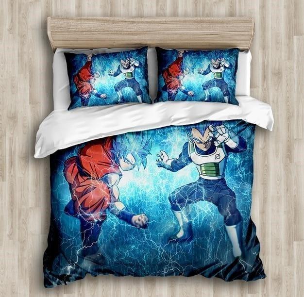 Goku And Vegeta Super Saiyan Blue Form Electric Aura Bedding Set