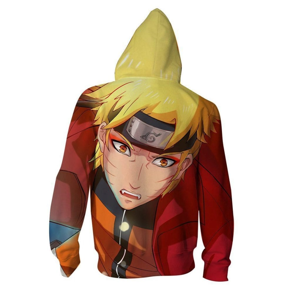 Angry Naruto Uzumaki Handsome Portrait Print Zip Up Hoodie