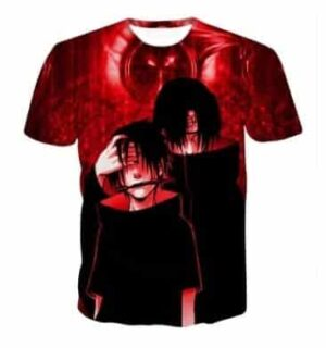 Brotherhood in Anime Sasuke and Itachi Uchiha Impressive Red T-shirt
