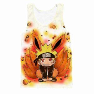 Cute Kid Kurama Nine Tails Teen Naruto Red Orange Graphic Tank Top