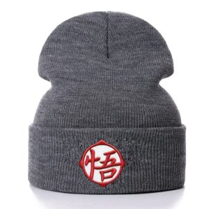 DBZ Embroidered Goku Training Kanji Gray Winter Beanie