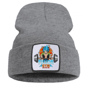 DBZ Gogeta Fusion Gym Barbell Workout Gray Winter Beanie