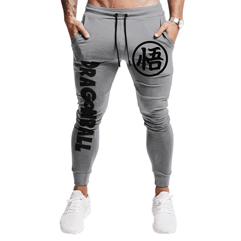 DBZ Goku Kanji And Dragon Ball Logo Gray Joggers Sweatpants
