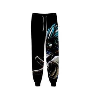 DBZ Sinister Super Saiyan Blue Vegeta Black Gym Sweatpants