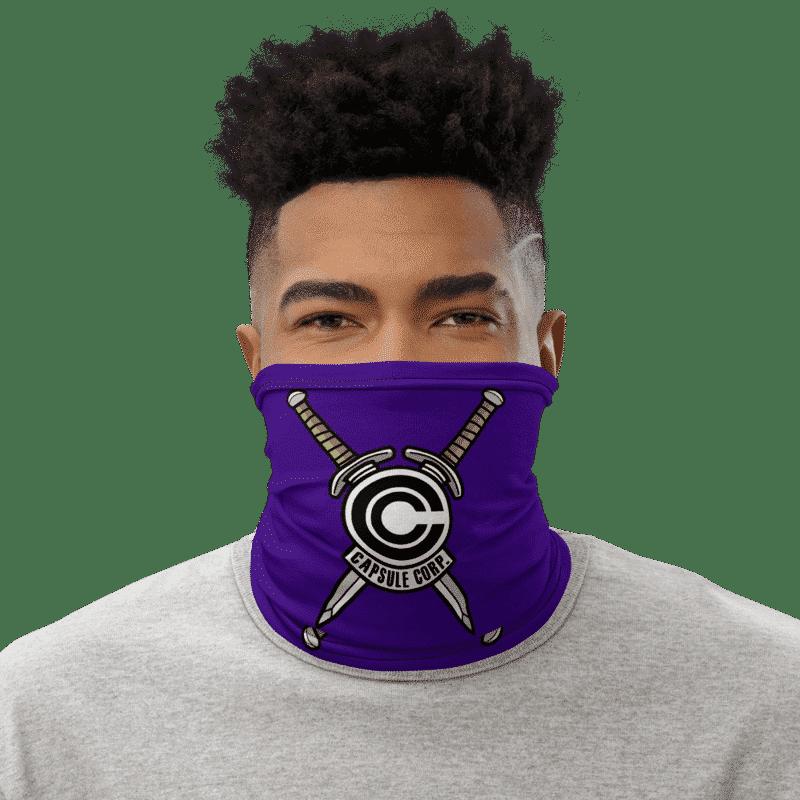 DBZ Trunks Sword Capsule Corp Blue Face Covering Neck Gaiter
