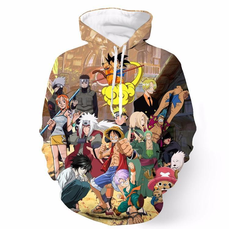 Death Note Naruto One Piece Dragonball Anime Characters Cool Hoodie