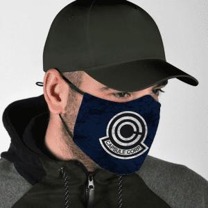 Dragon Ball Z Capsule Corp Grunge Symbol Blue Face Mask
