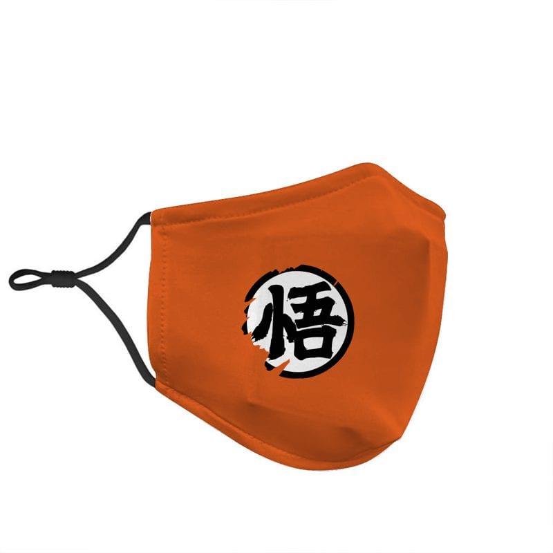 Dragon Ball Z Goku Kanji Wisdom Symbol Orange Face Mask