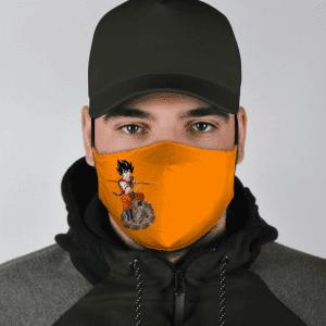 Dragon Ball Z Son Goku Riding Weed Nug Orange Face Mask