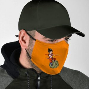 Dragon Ball Z Son Goku Riding Weed Nug Orange Face Mask