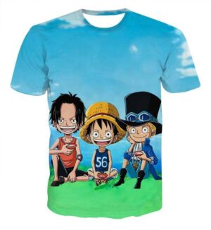 Funny Ace Luffy Zoro Sabo One Piece Full Print 3D T-shirt