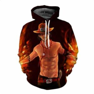 Funny One Piece Fiery D. Ace Cool Art Style Full Print 3D Design Hoodie