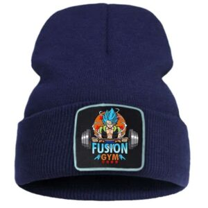 Gogeta Barbell Workout Fusion Gym Dark Blue Knitted Beanie