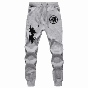 Goku Kanji And Kid Goku Silhouette Gray Workout Sweatpants