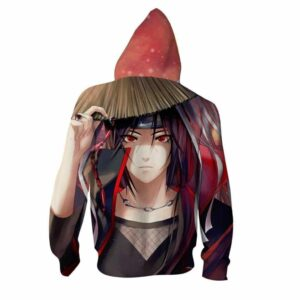 Itachi Mangekyo Sharingan Cool Portrait Print Zip Up Hoodie
