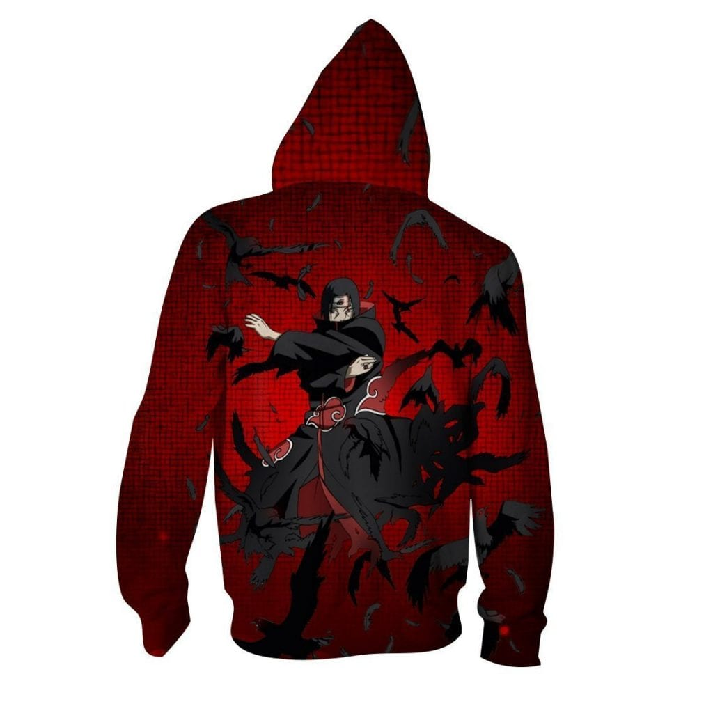 Itachi Uchiha Summoning Crows Dope Style Print Zip Up Hoodie