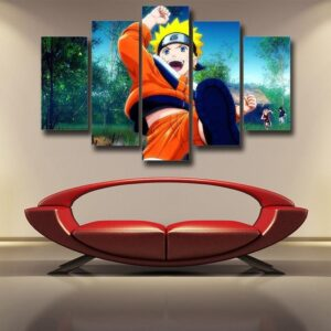 Lively Kid Naruto Uzumaki Fan Art 5pcs Wall Art Decor Canvas